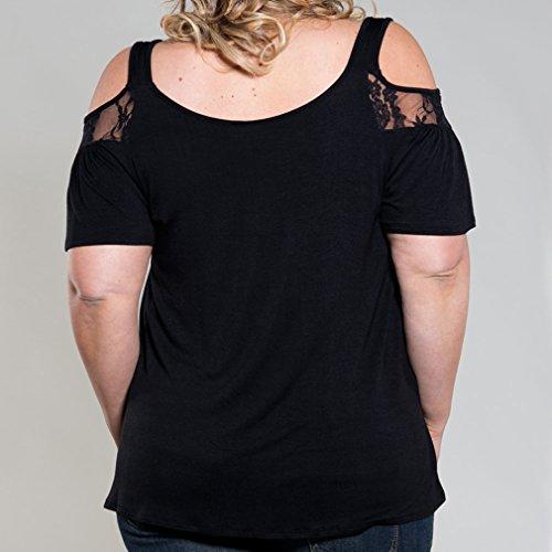 Honghu Damen Sexy Kurzarm Spitze Hals Schulterfrei T-shirt Schwarz