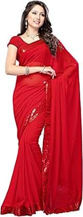 Krishna Emporia Georgette Saree (Plain Saree 5_Red)