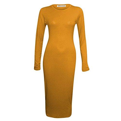 Janisramone ladies pianura manica lunga aderente maglia maxi abito stretch Mustard