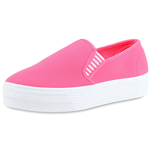 Japado Comode Sneakers Da Donna Comode Pantofole Scintillanti Glitter Applique Trendy Suola Piattaforma Gr. 36-41 Rosa Neon