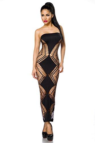 Sexy Netzkleid Netz Kleid Stretch Cutouts Schwarz Bandeau Trägerlos Lang Gogo