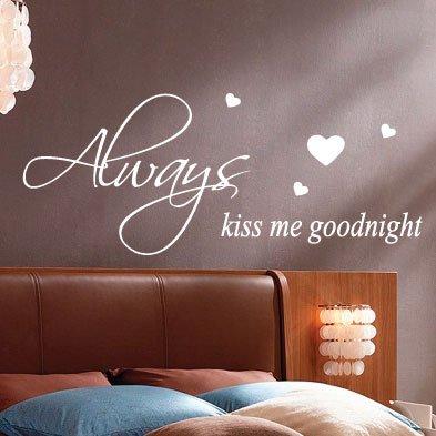 Always Kiss Me Goodnight Citazione a parete adesivi decalcomanie da parete parole scritte, Black, large