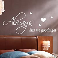 Always Kiss Me Goodnight Citazione a parete adesivi decalcomanie da parete parole scritte large Dark grey