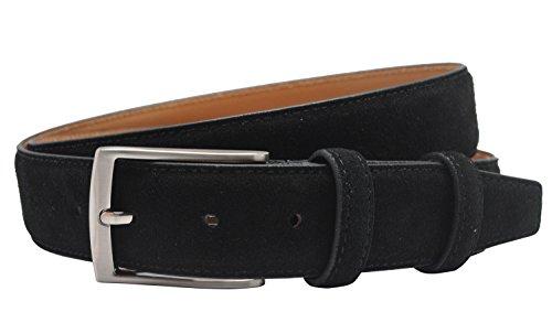 Wildleder Gürtel für Männer Pin Buckle Jeans Ledergürtel in Schwarz (Jeans Herren Tuch, Denim)