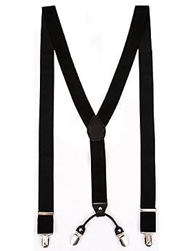 Hosenträger für Herren Schwarz | Lang | Größe verstellbar bis 125 cm | Extra starke Clips | Y-Form | Echte Leder-Applikationen...