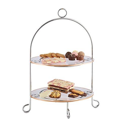 Relaxdays Présentoir à gâteaux 2 étages étagère à Muffin serviteur Cuisine Fruit apéritif Mariage HxlxP: 40 x 30 x 22, argenté