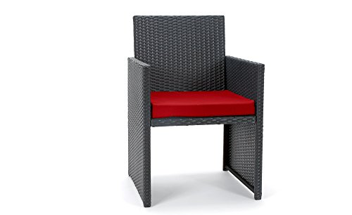 Rattan4Life 4-teilig Neapel Deluxe Polyrattan Gartenmöbel Set, Sofa / Lounge / Gartengarnitur / Kissenbezug, schwarz / rot - 4