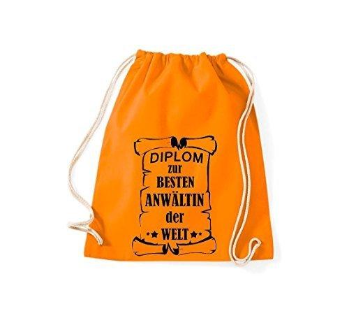 Shirtstown Borse palestra Diploma per migliore Anwältin mondo - rosa, 37 cm x 46 cm Arancione