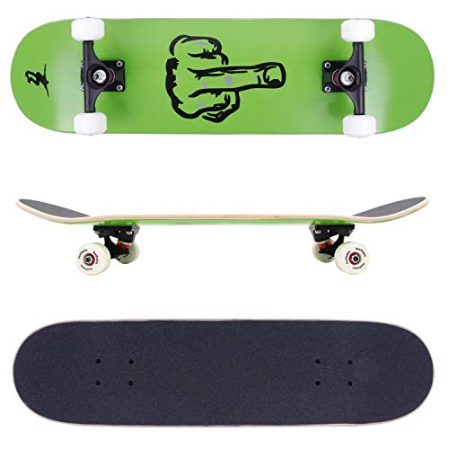 FunTomia® Skateboard mit ABEC-11 Kugellager Rollenhärte 100A und 100% 7-lagigem kanadisches Ahornholz (Finger)