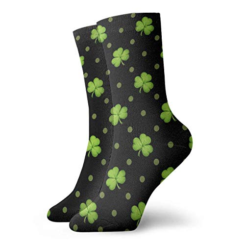 dfegyfr St. Patrick's Day Lucky Shamrocks Black Crew Socks Casual Funny for Sports Boot Hiking Running Etc.