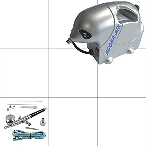 Agora-Tec® Airbrush Komplett-Set STARTER II inkl. Kompressor mit 2,8 bar & 13l/min + 1 Stück Double Action Airbrushpistole mit 0,2 & 0,3 & 0,5mm Nadeln/Düsen + 1,8 Meter
