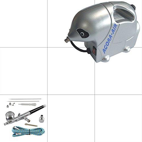 Agora-Tec® Airbrush Komplett-Set STARTER II inkl. Kompressor mit 2,8 bar & 13l/min + 1 Stück Double Action Airbrushpistole mit 0,2 & 0,3 & 0,5mm Nadeln/Düsen + 1,8 Meter Schlauch -