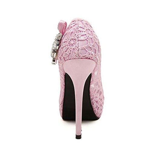 W&LM Signorina Tacchi alti sandali Ok ricamato Strass Bocca di pesce Scarpe singole Scarpe nere Pink