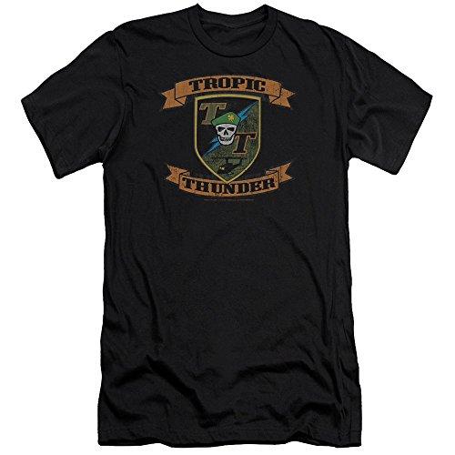 Tropic Thunder - - Männer Patch Premium Slim Fit T-Shirt, X-Large, Black