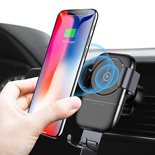 humixx Caricabatteria da Auto Qi, caricabatteria da Auto Wireless 10W e rilevatore Automatico di gravità con azionamento a Mano a Una Mano Supporto da Culla per Auto 2 in 1 per iPhone X/XS Max