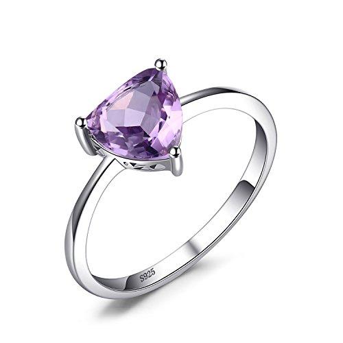 JewelryPalace Trillion 1.1ct Natürlicher Lila Amethyst Birthstone Solitaire Ring Echtes 925 Sterling Silber (Ring Diamant Versprechen Lila)