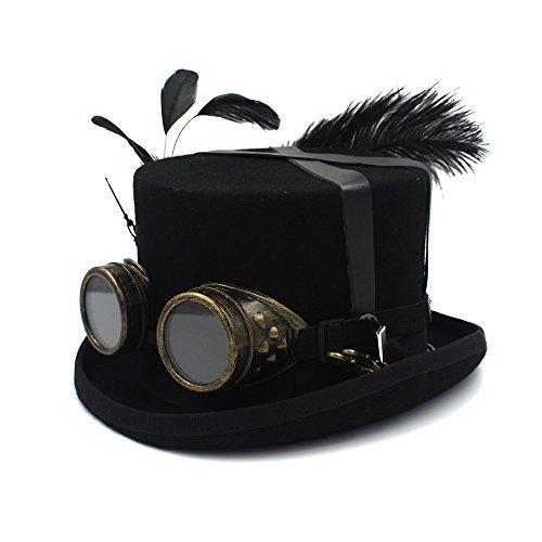 Viktorianischen Tophat - HongGXD Mit Feder Goggles Cosplay Nussknacker