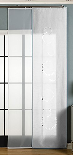 Gardinenbox 2er-Pack Schiebegardine Flächenvorhang Avila Lasercut Wildseide Optik Voile, Weiß, 245x60 cm (HxB) inkl. Paneelwagen und Beschwerungsstangen, 165610