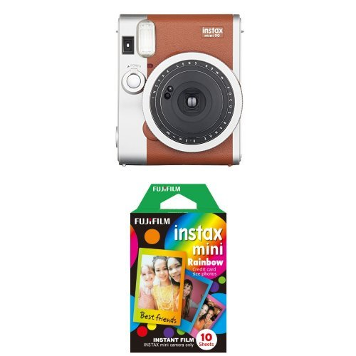 Fujifilm - Instax Mini 90 Neo Classic - Appareil Photo Instantané - Marron Clair + Rainbow Film 10 poses - Appareil Photo
