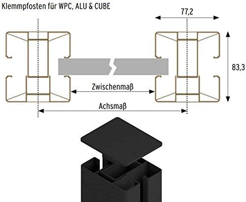 Klemmpfosten anthrazit für System Zaunfelder mit 105cm, passend für WPC, Alu und Glas – Sichtschutzzäune Sichtschutzwand Gartensichtschutz Balkonsichtschutz Winschutz