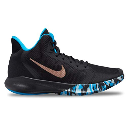 Nike precision iii, scarpe da basket unisex-adulto, multicolore (black/mtlc red bronze-lt current blue 5), 45 eu