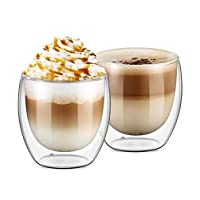 Double Wall Insulate Glass, 8.5oz 250ml Double Wall Coffee Glasses Insulated Double layer Espresso Tea Cups 6pcs