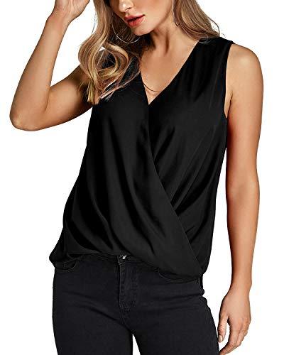 Schwarze Chiffon-bluse (YOINS Bluse Damen Oberteile Elegant Ärmellos Chiffon Blusen Shirt Crop Tops für Damen Sommer Schwarz EU32-34)