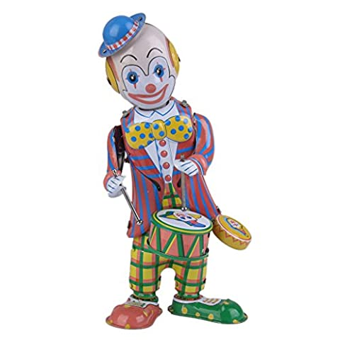 MagiDeal Drumming Clown Wind Up Toy Retro Circus Style Robot Gift