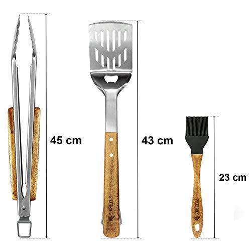 41y1bY3fDkL - VENETUS-BBQ Grillbesteck extra lang aus edlem Akazienholz | Premium Grillzubehör 3 teilig: Grillzange, Grillwender und Grillpinsel | Ideales Grill-Geschenk für Männer