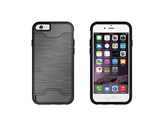 EKINHUI Case Cover Für Apple IPhone 6 & 6s Stoßfänger, gebürstetem Metall Finish Shockproof Schock Absorbtion Schutzhülle Premium Soft Fexible TPU Silikon Abdeckung mit Halter & Card Slot ( Color : Gr Gray