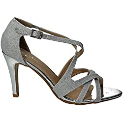 Anita Damen Silber Shimmer Glitzer Metallic Heels Stiletto Party Schuhe Damen Schuhe–SwankySwans, Silber - silber - Größe: 36 2/3 EU