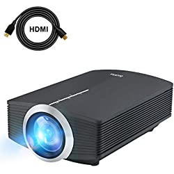 Supremc Mini Vidéo Projecteur LED, Deeplee DP500 2000 Lumen Videoprojecteur Portable Soutien HD 1080P HDMI USB VGA AV SD,Projecteur de Cinéma Maison (Noir)