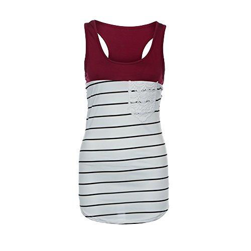 Women s Stripe Vest Tank Lace Pocket Ladies Activewear Summer Top  Sleeveless Tops HUYURI 7c6ec92ebc
