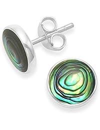 Sterling Silver Heart Earrings Paua shell - SIZE: 5mm. Gift boxed Silver Paua shell studl earrings 5589PS