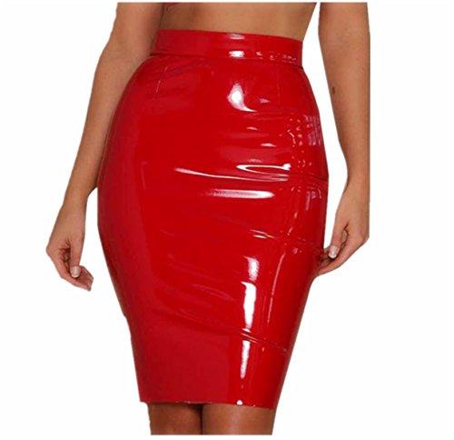 Longra Mini Falda Media Apretada de Cuero Moda para Mujeres - Elegante - Piel sintética - elástica - Color Negro Mate, (Rojo, S)