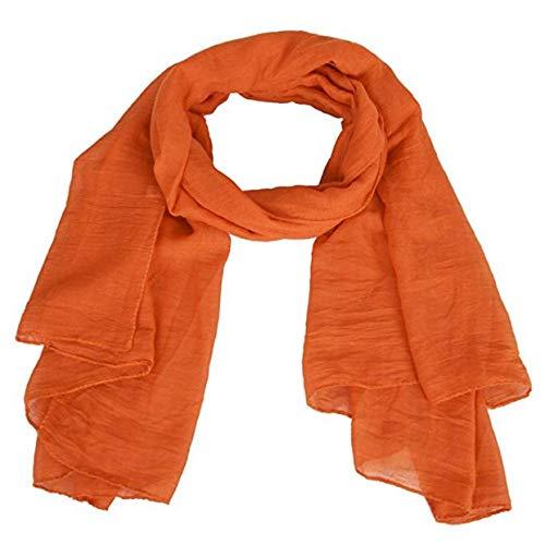 EVRYLON Damen Pashmina Sommer, Orange, 175 x 45 cm, Baumwolle Acetat