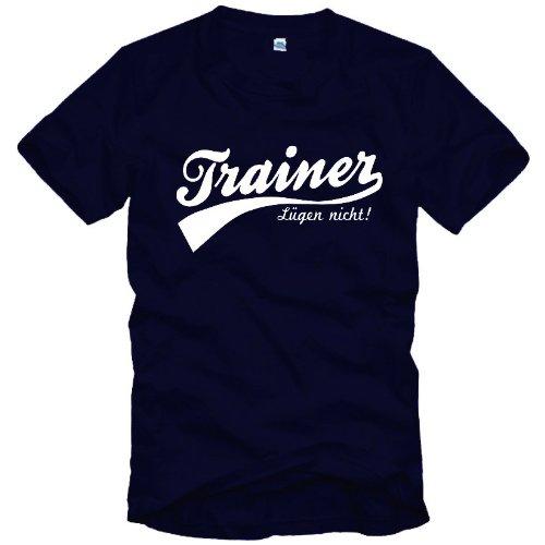 1O1Kultstoff TRAINER T-Shirt (Trainer - Lügen nicht !) Gr. S M L XL XXL 3XL, dunkelblau, XXL