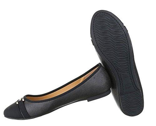 Damen Ballerinas Schuhe Lofers Espadrilles Pumps Schwarz