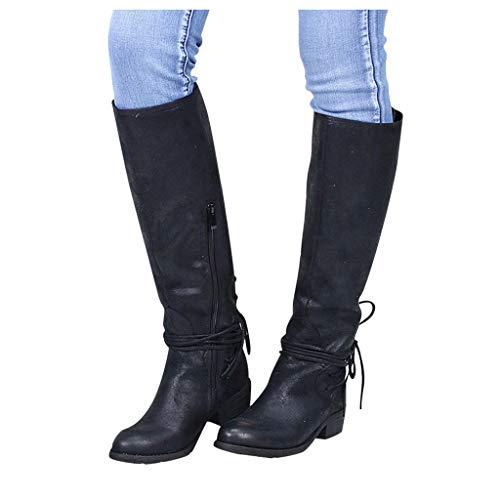 DNOQN Damen Lange Stiefel Mode Leopard Kreuz Krawatte Reißverschluss Booties Freizeit Schuhe Schwarz 36 (Wildleder Fransen Bootie)