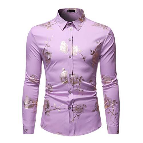 CuteRose Men's Long-Sleeve Relaxed-Fit Hot Stamping No-Iron Work Shirt Light Purple XS