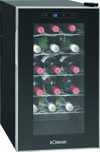 Bomann KSW 345 Weinkühlschrank Freistehend  B  189 kWhJahr  63.6 cm  18 Flaschen  elektronische Temperatursteuerung und -einstellung  schwarz