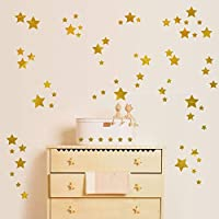 TCCSR Wall Stickers The Sky Golden Star Wall Stickers For Kids Rooms Art Bedroom Tv Wall Glass Windows Home Decor