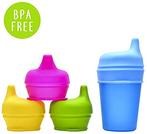 Silicone Sippy Cup Lids (4 Pack) | Make Any Cup A Spill Proof Sippy Cup, 100% BPA Free | Baby Cup Lids Perfect For Toddlers and Babies