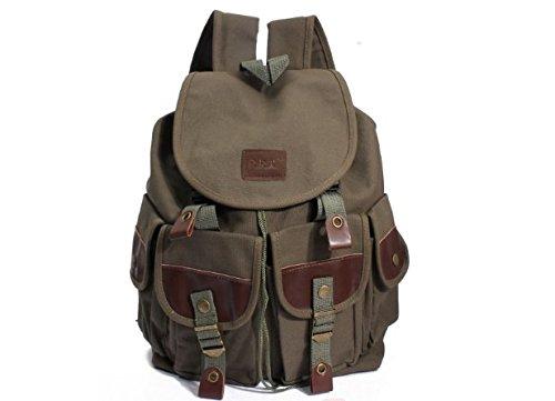 moaeuro Unisex Damen Herren Canvas Rucksack Reisen Camping Schule Cool Rucksack, Military Tasche, armee-grün