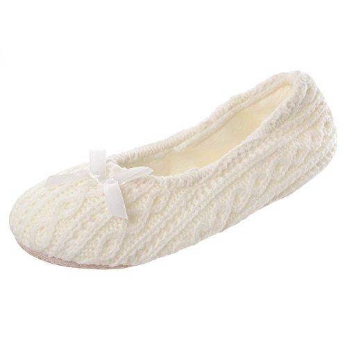 Autumn faith - Pantofole tipo ballerine da donna, in maglia, con imbottitura morbida e suola anti-scivolo, colore: panna, bianco (Cream), 41 EU