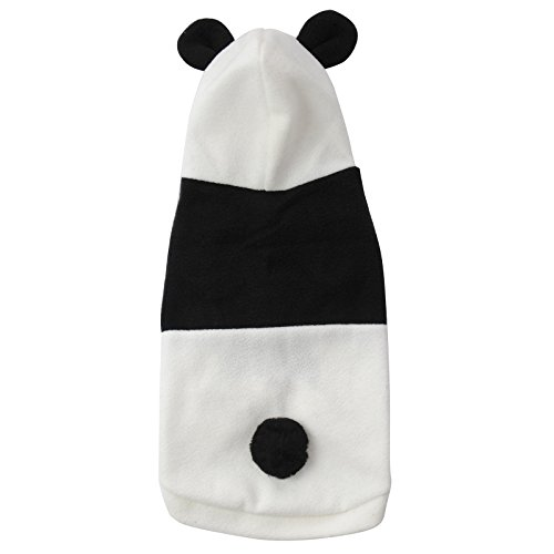 Für Hund Panda Kostüme Den (Halloween Haustier Kostüm Cartoon Panda Cosplay Lion Hunde Bekleidung Welpen Katze Mantel Kleidung Jumpsuit schwarz-weiss)