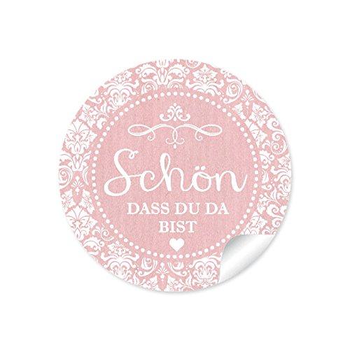 """24 STICKER:\""""Schön, dass du da bist\"""" Schöne Etiketten im\""""Shabby Chic gestreiften Packpapier Retro Look\"""" in zartem rosa mit Herz und Ornamente (4 cm, rund, matt) Für Gastgeschenke oder Tischdeko"""