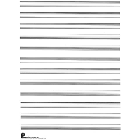 Passantino Music Papers: No. 1, 12 Stave (Both Sides), Writing Pad Size 9 x 12