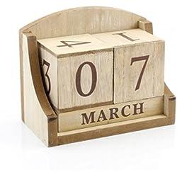 Bloque de madera calendario perpetuo Shabby Chic Natural Fecha casa escritorio de oficina