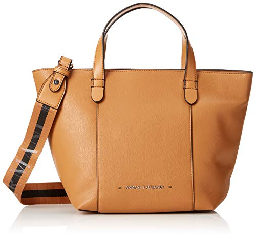 Armani Exchange - Stitched Medium Shopper Bag, Bolsos totes Mujer, Marrón (Cognac),...
